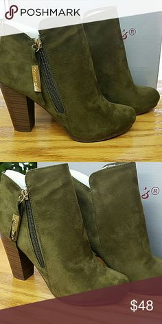 Adorable Olive Booties Suede olive booties  No trades.  No holds. Shoes Ankle Boots & Booties