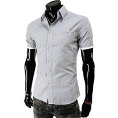 (AL261-BLACK) Mens Casual Slim Fit Pin Stripe Pocket Short Sleeve Shirts
