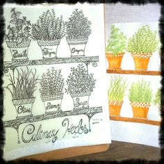 Finished ink drawing and watercolor wash for my Culinary Herbs illustration. Potted container garden. Kitchen art. Terra cotta, green, black, white. Painting in progress. By Shalom Schultz Designs.