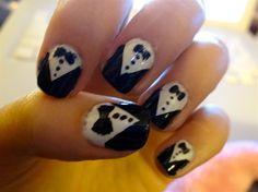 Tuxedo nails by shaanaj - Nail Art Gallery nailartgallery.nailsmag.com by Nails Magazine www.nailsmag.com #nailart