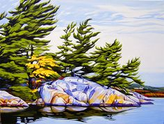 Artist Margarethe Vanderpas paints the Georgian Bay coastline; Her award winning landscapes and waterscapes can be found in corporate and private collections. Watercolor Landscape, Landscape Art, Landscape Paintings, Watercolor Paintings, Landscapes, Modern Paintings, Landscape Pictures, Watercolours, Woodcut Art