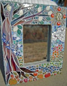 Finding the Perfect Tree, Glass Mosaic Mirror, Diane Quarles Mirror Mosaic, Mirror Art, Mosaic Art, Mosaic Glass, Mosaic Tiles, Glass Art, Stained Glass, Sea Glass, Mosaics