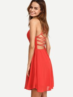 Shop Red Sleeveless Lace-up Back Skater Dress online. SheIn offers Red Sleeveless Lace-up Back Skater Dress & more to fit your fashionable needs.
