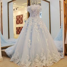 New Short Sleeve Organza Prom Dresses Blue Long Pageant Dress Vestidos De Fiesta A-line Dress for 15 Years cheap dresses _ {categoryName} - AliExpress Mobile Version - Tulle Wedding Gown, Blue Wedding Dresses, Princess Wedding Dresses, Cheap Wedding Dress, Bridal Dresses, Quince Dresses, 15 Dresses, Cheap Dresses, Short Dresses