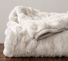 Ruched Faux Fur Throw - Ivory #potterybarn