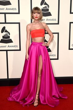 Taylor Swift The 58th GRAMMY Awards 2016 Two-piece Red Carpet Dress WCD8055