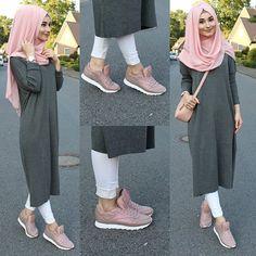 Hijab style looks so adorable Modern Hijab Fashion, Street Hijab Fashion, Muslim Women Fashion, Islamic Fashion, Abaya Fashion, Fashion Outfits, Hijab Style, Hijab Chic, Mode Kawaii