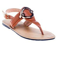 bac08d6cc886f2 Tan Flat Sandal - Flip flops - Large Size women s shoes. Fancy flat shoes -