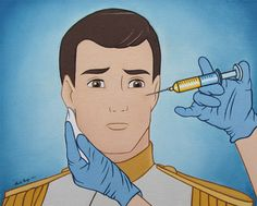 Oh my gosh I literally just laughed out loud that is too funny. Disney prince getting Botox Humour Disney, Disney Memes, Disney Pixar, Disney Characters, Funny Disney, Disney Villains, Dark Disney, Funny Meme Pictures, Funny Memes