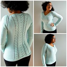 Erica is a top down V-neck sweater knit in the round with a column of lace and cables beautifully cascading down the back of the sweater. I named this sweater Erica because that is my big sister's middle name and I designed this sweater for her. She loves hand knit sweaters :)