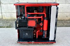 schwarz rot build black and red build in a modded thermaltake core p5