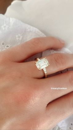 Brilliant Earth Tapered Baguette Diamond in yellow gold, featuring an approximately ct. Engagement Ring Rose Gold, Baguette Engagement Ring, Baguette Diamond Rings, Dream Engagement Rings, Princess Cut Engagement Rings, Engagement Ring Cuts, Baguette Wedding Bands, Vintage Emerald Engagement Rings, Emerald Diamond Rings