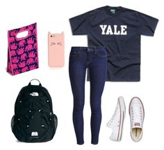 """""""First Day Of School Outfit Idea 4/5"""" by sweatshirt-irwin ❤ liked on Polyvore featuring The North Face, Levi's, Converse, Kate Spade and Lilly Pulitzer"""