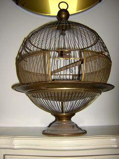 RARO antiguo del globo Hendryx jaula de pájaros de bronce jaula del pájaro canario c. 1900