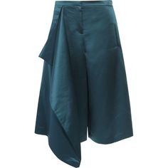 Tibi Draped satin culottes (20.900 RUB) ❤ liked on Polyvore featuring pants, capris, petrol, high waisted wide leg pants, high-waisted pants, teal pants, high-waisted wide leg pants and high rise pants