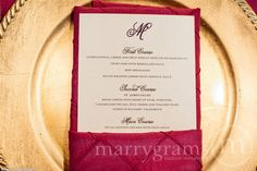 Simple, Chic Wedding Menu Cards – Flat with Monogram Design (50 count) Wedding Reception Sign Plated Dinner Menu 1
