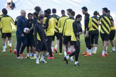 El entrenamiento del Barça en el Calderón