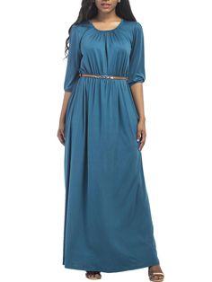 Round Neck Belt Plain Evening Dress