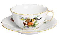 """Teetasse m.U., Form """"Neuer Ausschnitt"""", Vintage Vogelmalerei, Motiv - Stieglitz, Goldrand, V 0,20 l"""