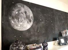 white moon chalk art