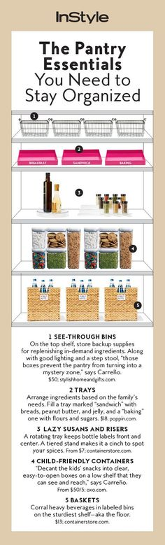 These clever kitchen pantry organization hacks will save your food from the deadline. Get some ideas for your pantry closet organization here. Pantry Closet Organization, Home Organisation, Pantry Storage, Organization Hacks, Organized Pantry, Organizing Ideas, Kitchen Storage, Bag Storage, Basket Organization