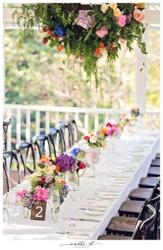 Bright boho wedding reception flowers