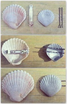 Hot glue bobby pins and hair clips to the back of shells for easy DIY mermaid ha. Hot glue bobby pins and hair clips to the back of shells for easy DIY mermaid hair accessories! Seashell Jewelry, Seashell Crafts, Beach Crafts, Diy And Crafts, Seashell Projects, Crafts Cheap, Simple Crafts, Diys, Mermaid Diy