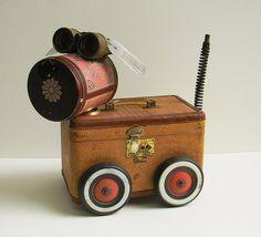 Travel Dog - By Bill McKenney Bills Retro Robots  - Found Object Sculpture