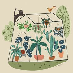 #illustrationart #greenhouseplans #plantsmakepeoplehappy #botanicalillustration #plantsandcats Botanical Illustration, Illustration Art, Plant Painting, Greenhouse Plans, Cats, How To Make, Everything, Gatos, Kitty Cats