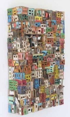 """""""I like the colorful house from scrap wood by Dutch artist Eric Cremers"""" Sculptures Céramiques, Wood Sculpture, Cardboard City, 3d Art, Assemblage Art, Recycled Art, Art Plastique, Altered Art, Art Lessons"""