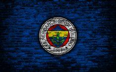 Download wallpapers 4k, Fenerbahce FC, logo, Turkey, brick wall, Super Lig, soccer, football club, Fenerbahce, brick texture, football, FC Fenerbahce