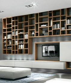 Living Room Shelves Hallways - L' étagère bibliothèque, comment choisir le bon design . Design Living Room, Living Room Modern, Living Room Decor, Bookshelves In Living Room, Living Room Storage, Wall Storage Cabinets, Kitchen Cabinets, Wall Design, House Design