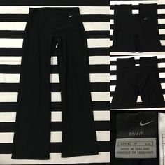 """Nike women's DRI-FIT athletic pants sz S ⚽️ Nike women's DRI-FIT athletic pants black sz S ⚽️ good used condition, material is polyester and spandex, fit is similar to a yoga pant fit,  pants are fitted around hips and thighs and then are bootcut-slightly wide leglength/inseam 30"""", black with white swoosh See more of these pants (different lengths) and other Nike and athletic wear listings in my closet (sz XS-XXL-women's and men's) Nike Pants"""