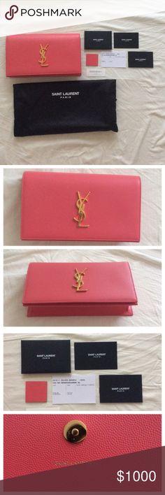 Authentic Saint Laurent YSL pink clutch 100% Authentic  Retails for $1,150 plus tax.  New, never use.  Color: Rose Clair  Comes with dust bag, authenticity cards, leather swatch. Saint Laurent Bags Clutches & Wristlets