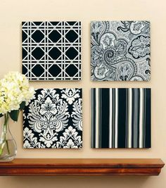 DIY Decorative Wall Panels with Fabric or Scrapbook Paper #DIY Home Decor #Craft