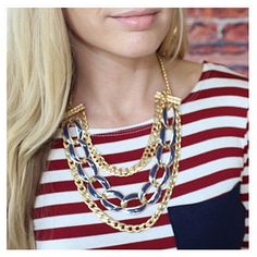 Navy chain necklace set Necklace and earrings included Jewelry Necklaces
