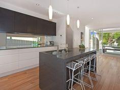 Open plan kitchen dining living modern kitchen