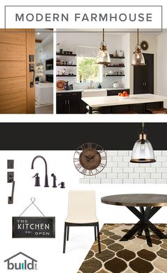 Love the look of the Modern Farmhouse style? We make it easy to get everything you need in one spot! Modern Farmhouse Kitchens, Modern Farmhouse Style, Farmhouse Design, Home Kitchens, Farmhouse Decor, Interior Decorating, Interior Design, Decorating Ideas, Home Decor Kitchen