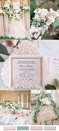 romantic and elegant blush and greeery garden wedding color inspiration