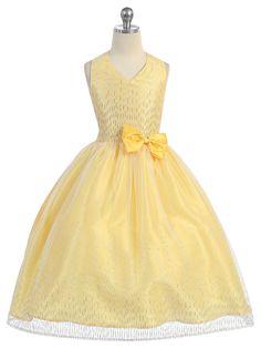 Yellow Beaded Halter Tulle Dress with Matching Bolero