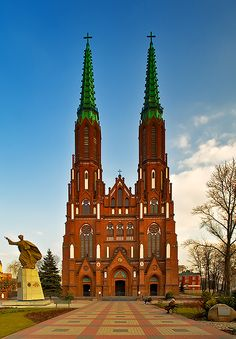 Warsaw, Poland ~ The St. Michael's Archangel and St. Florian's Cathedral was bulit between 1886 and 1902. Its two red spires dominate the silhouette of the Praga district on the eastern bank of the Vistula river. The church which is also known as Cathedral of Praga was totally destroyed in 1944 and then rebulit until 1972.