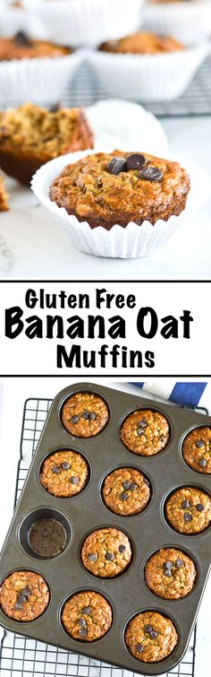 An easy to make recipe for my favourite breakfast on-the-go, Gluten Free Banana Oat Muffins! Made wholesome and healthy with gluten free rolled oats, banana, greek yogurt and chocolate chips. | nourishedtheblog.com | Gluten Free Banana Oat Muffins