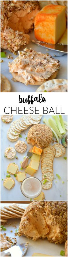 This Buffalo Cheese Ball is a recipe that's perfect for lovers of both cheese and spice. You need just a few ingredients and a few minutes. (Few Ingredients Dinner) Finger Food Appetizers, Easy Appetizer Recipes, Appetizers For Party, Finger Foods, Snack Recipes, Cooking Recipes, Christmas Appetizers, Party Snacks, Dinner Parties