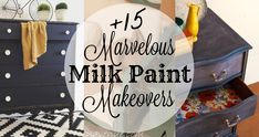 Milk paint transformations you don't want to miss! Painting Pine Furniture, Milk Paint Furniture, Furniture Wax, Cottage Furniture, Mirrored Furniture, Diy Furniture Projects, Hand Painted Furniture, Cool Diy Projects, Unique Furniture