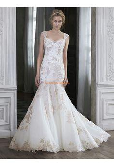 Robes de mariée en tulle sirène avec bretelles chic moderne pas cher