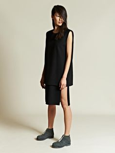 Ava Catherside Women's Plain Felted Wool Double Layer Dress