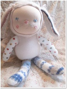 Handmade Kitten and Bunny Dolls by Prudence