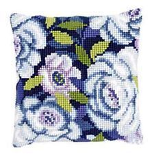 """Vervaco BLUE FLOWERS Chunky Cross Stitch Cushion Front Kit 16"""" x 16"""""""