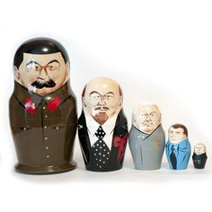 Stalin Matryoshka is a classical Russian political leaders nesting doll which appeared in late 80-s. It describes Russian political leader