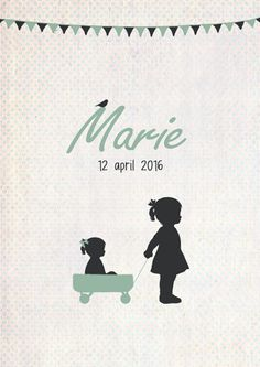 Geboortekaartje Marie - voorkant - Pimpelpluis - https://www.facebook.com/pages/Pimpelpluis/188675421305550?ref=hl (# meisje - grote zus - bolderkar - vlagjes - vlaggetjes - silhouet -  origineel)